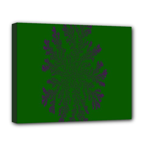 Dendron Diffusion Aggregation Flower Floral Leaf Green Purple Deluxe Canvas 20  X 16   by Mariart