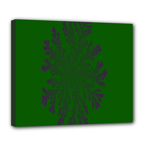 Dendron Diffusion Aggregation Flower Floral Leaf Green Purple Deluxe Canvas 24  X 20   by Mariart