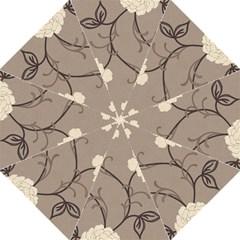 Flower Floral Black Grey Rose Golf Umbrellas by Mariart