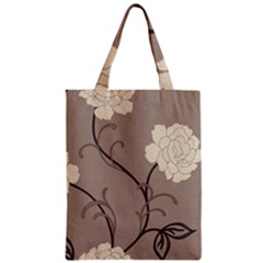 Flower Floral Black Grey Rose Zipper Classic Tote Bag by Mariart