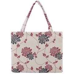 Flower Floral Black Pink Mini Tote Bag by Mariart