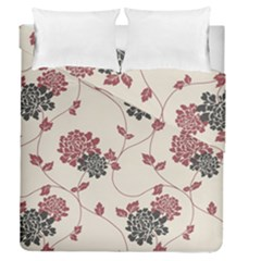 Flower Floral Black Pink Duvet Cover Double Side (queen Size) by Mariart