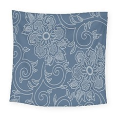 Flower Floral Blue Rose Star Square Tapestry (large) by Mariart