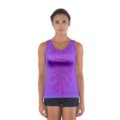 Dendron Diffusion Aggregation Flower Floral Leaf Red Purple Women s Sport Tank Top