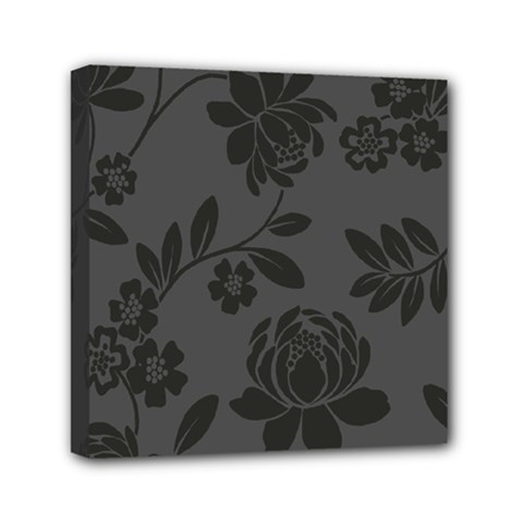 Flower Floral Rose Black Mini Canvas 6  X 6  by Mariart