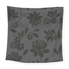 Flower Floral Rose Black Square Tapestry (large) by Mariart