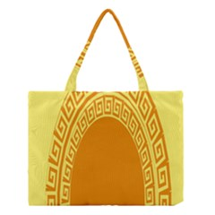 Greek Ornament Shapes Large Yellow Orange Medium Tote Bag by Mariart