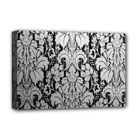 Flower Floral Grey Black Leaf Deluxe Canvas 18  X 12   by Mariart