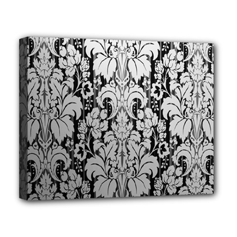 Flower Floral Grey Black Leaf Deluxe Canvas 20  X 16   by Mariart