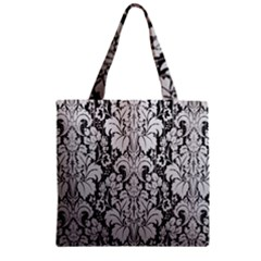 Flower Floral Grey Black Leaf Zipper Grocery Tote Bag by Mariart