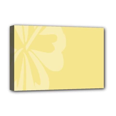 Hibiscus Custard Yellow Deluxe Canvas 18  X 12   by Mariart