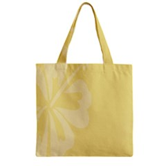 Hibiscus Custard Yellow Zipper Grocery Tote Bag by Mariart