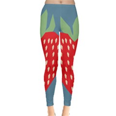 Fruit Red Strawberry Leggings  by Mariart