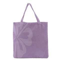 Hibiscus Sakura Lavender Herb Purple Grocery Tote Bag by Mariart