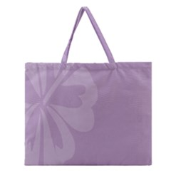 Hibiscus Sakura Lavender Herb Purple Zipper Large Tote Bag by Mariart