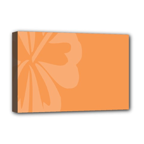 Hibiscus Sakura Tangerine Orange Deluxe Canvas 18  X 12   by Mariart