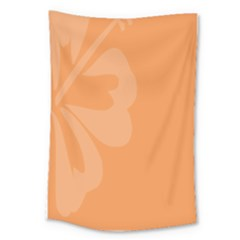 Hibiscus Sakura Tangerine Orange Large Tapestry by Mariart