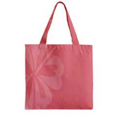 Hibiscus Sakura Strawberry Ice Pink Zipper Grocery Tote Bag by Mariart