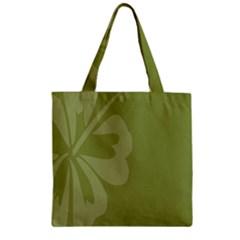 Hibiscus Sakura Woodbine Green Zipper Grocery Tote Bag by Mariart