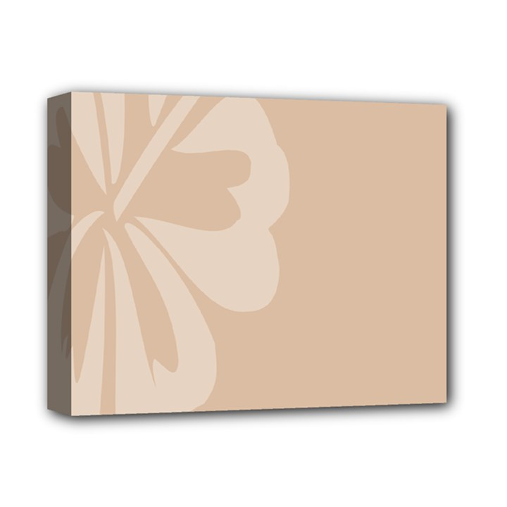 Hibiscus Sakura Toasted Almond Grey Deluxe Canvas 14  x 11