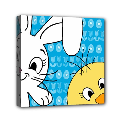 Easter Bunny And Chick  Mini Canvas 6  X 6  by Valentinaart
