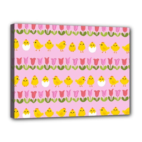 Easter   Chick And Tulips Canvas 16  X 12  by Valentinaart