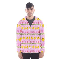 Easter   Chick And Tulips Hooded Wind Breaker (men) by Valentinaart