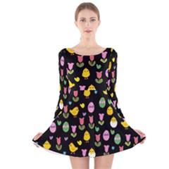 Easter - chick and tulips Long Sleeve Velvet Skater Dress by Valentinaart