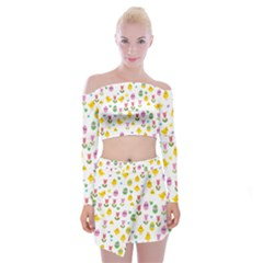 Easter   Chick And Tulips Off Shoulder Top With Skirt Set