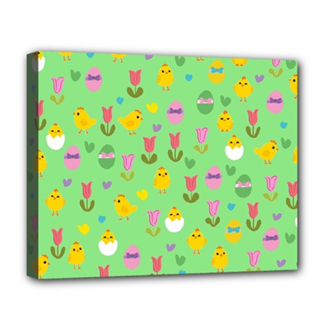 Easter   Chick And Tulips Deluxe Canvas 20  X 16   by Valentinaart