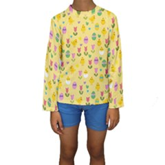 Easter   Chick And Tulips Kids  Long Sleeve Swimwear