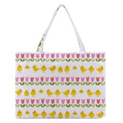Easter - chick and tulips Medium Zipper Tote Bag by Valentinaart
