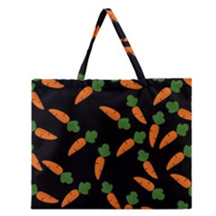 Carrot Pattern Zipper Large Tote Bag by Valentinaart