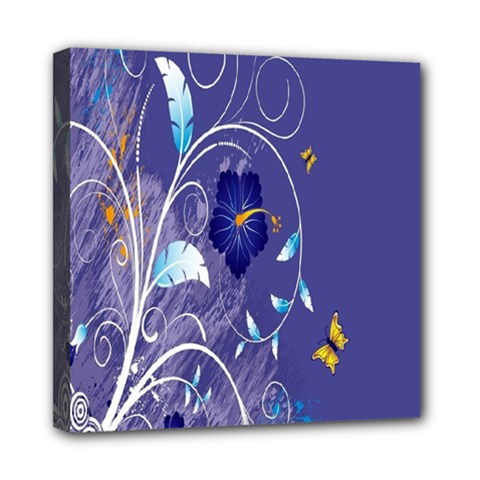 Flowers Butterflies Patterns Lines Purple Mini Canvas 8  X 8  by Mariart