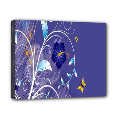 Flowers Butterflies Patterns Lines Purple Canvas 10  X 8  by Mariart