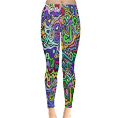 Colorful Abstract Paint Rainbow Leggings  by Mariart
