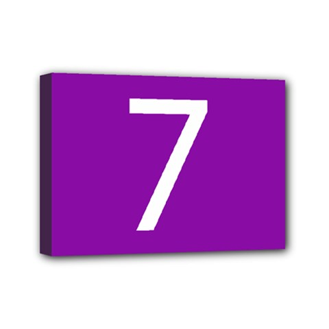 Number 7 Purple Mini Canvas 7  X 5  by Mariart