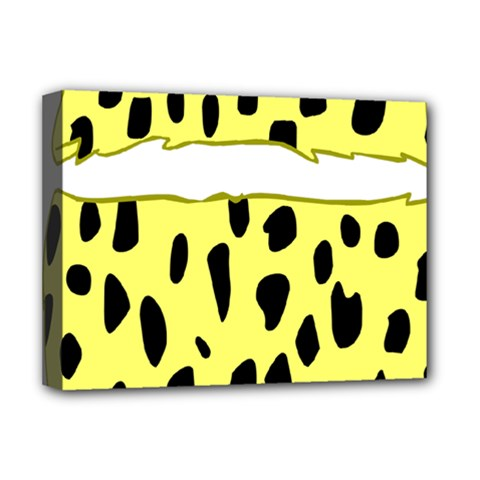 Leopard Polka Dot Yellow Black Deluxe Canvas 16  X 12   by Mariart