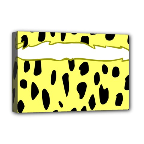 Leopard Polka Dot Yellow Black Deluxe Canvas 18  X 12   by Mariart