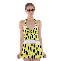 Leopard Polka Dot Yellow Black Halter Swimsuit Dress by Mariart