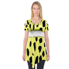 Leopard Polka Dot Yellow Black Short Sleeve Tunic