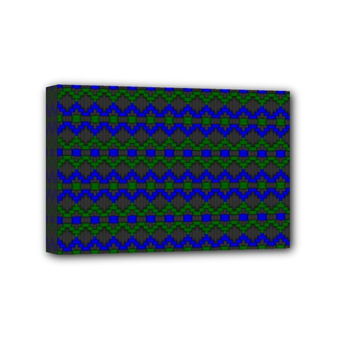 Split Diamond Blue Green Woven Fabric Mini Canvas 6  X 4  by Mariart