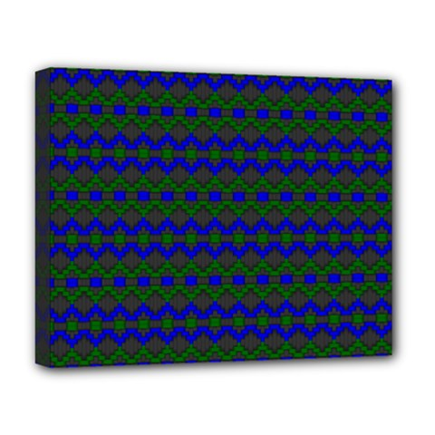 Split Diamond Blue Green Woven Fabric Deluxe Canvas 20  X 16   by Mariart