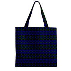 Split Diamond Blue Green Woven Fabric Zipper Grocery Tote Bag by Mariart