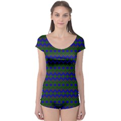Split Diamond Blue Green Woven Fabric Boyleg Leotard  by Mariart