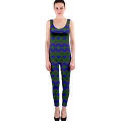 Split Diamond Blue Green Woven Fabric Onepiece Catsuit by Mariart