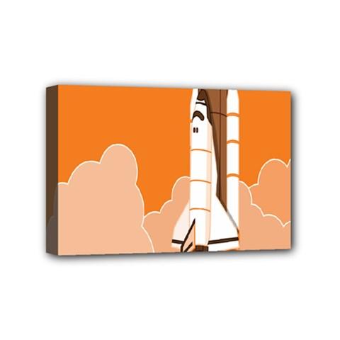 Rocket Space Ship Orange Mini Canvas 6  X 4  by Mariart