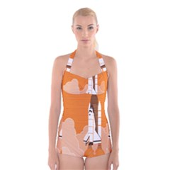 Rocket Space Ship Orange Boyleg Halter Swimsuit  by Mariart