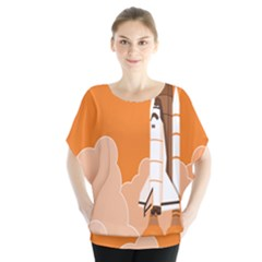 Rocket Space Ship Orange Blouse by Mariart