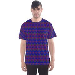 Split Diamond Blue Purple Woven Fabric Men s Sport Mesh Tee by Mariart